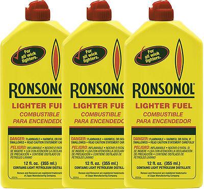 3 pack 12oz Genuine Ronson 355ml Lighter Fluid Premium Fuel 99063 NEW WHOLESALE