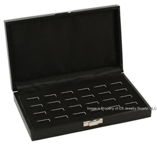 1 Black Wide Slot 12 pair Cufflink or 24 Ring Display Storage Box Case Organizer