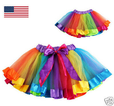 Rainbow Tutu Halloween Costume Cute Tulle Skirt for Girls  USA SELLER FAST SHIP