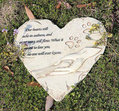 JHB Pet Memorial Stepping Stone Heart Shape for Garden Decor Dog or Cat For