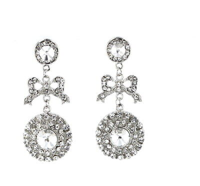 - Post Drop Earrings Womens Victorian Style Bow Crystal Rhinestone Bridal Silver