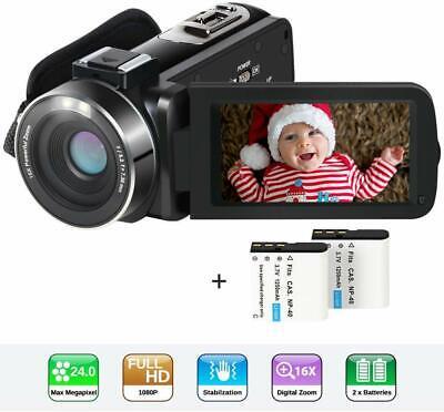 "Video Camera Camcorder HD 1080P 24MP YouTube Vlogging Camera 3"" LCD 270"