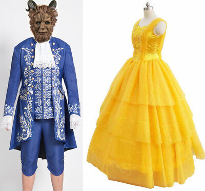 Belle Halloween Costumes (Beauty and The Beast Cosplay Adam Belle Party Costumes Princess Dress)