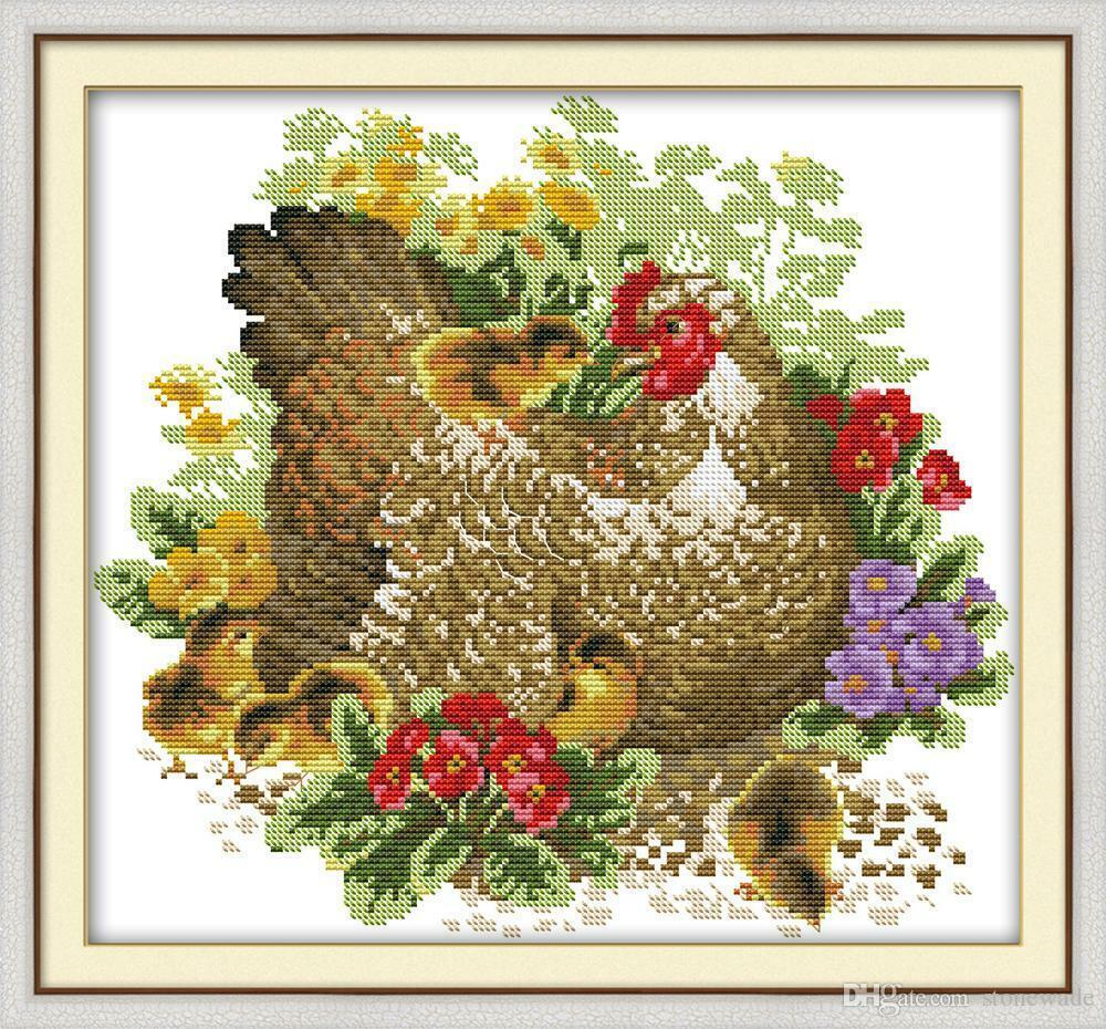 JOY SUNDAY COUNTED CROSS STITCH KIT CHICKEN MOTHER AND CHICKS NIP - $22.95