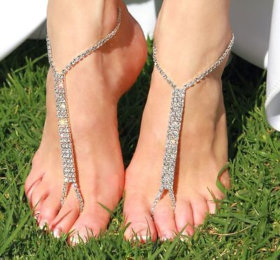 Barefoot Crystal Beach Sandals Bridal Wedding Diamante Anklet Foot Jewelry 2 PCS