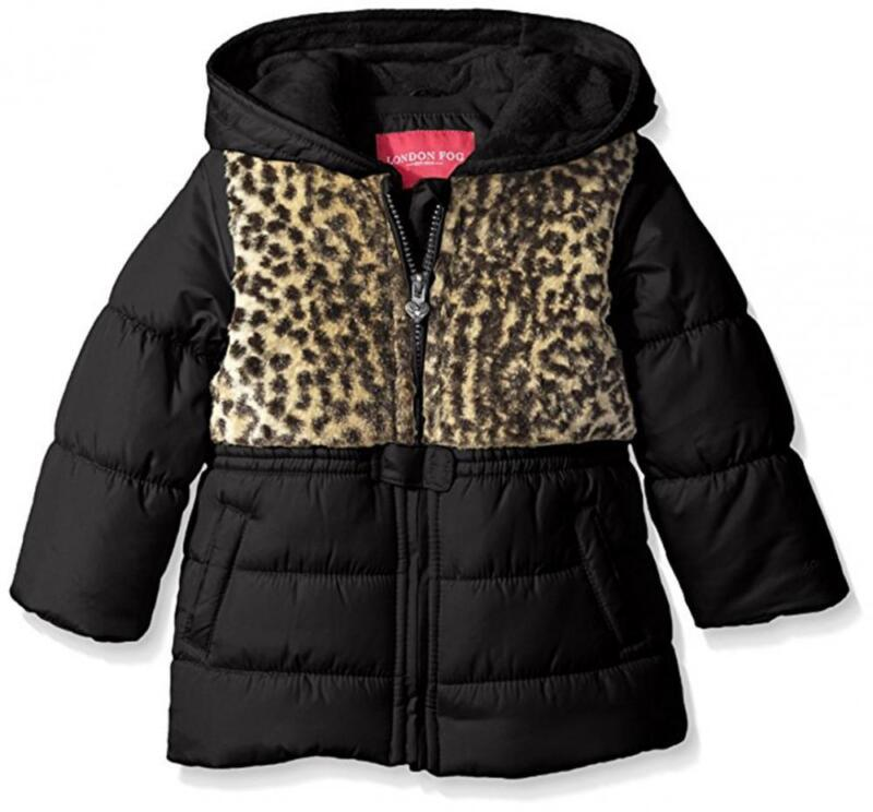 London Fog Infant Girls Black & Leopard Print Coat Size 12M 18M 24M