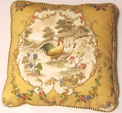 Provence French Realm Cottage Pillow Plaid Yellow Red Blue Rooster Hen Check