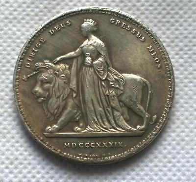 1839 UNA AND THE LION QUEEN VIC GOTHIC CROWN SOUVENIR COIN collectible restrike