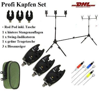 Karpfen Rod Pod inkl. elektronische Bissanzeiger Buzzerbar Ruten Halter + Tasche
