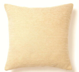 2 Matching BHS Cream Coloured Square Shaped Chenille Cushion Covers-50cmx50cm.