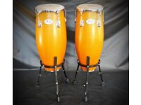 Natal Fuego 10 & 11 inch Honey Wood Congas & Adjustable Stands - Hardly Used