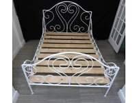 DOUBLE SIZE IRON METAL WHITE BED FRAME