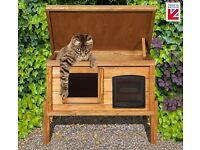 External Self Heating Microchip Cat Kennel with One Way Privacy