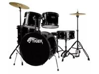 Tiger full size drum set kit including sticks and stool