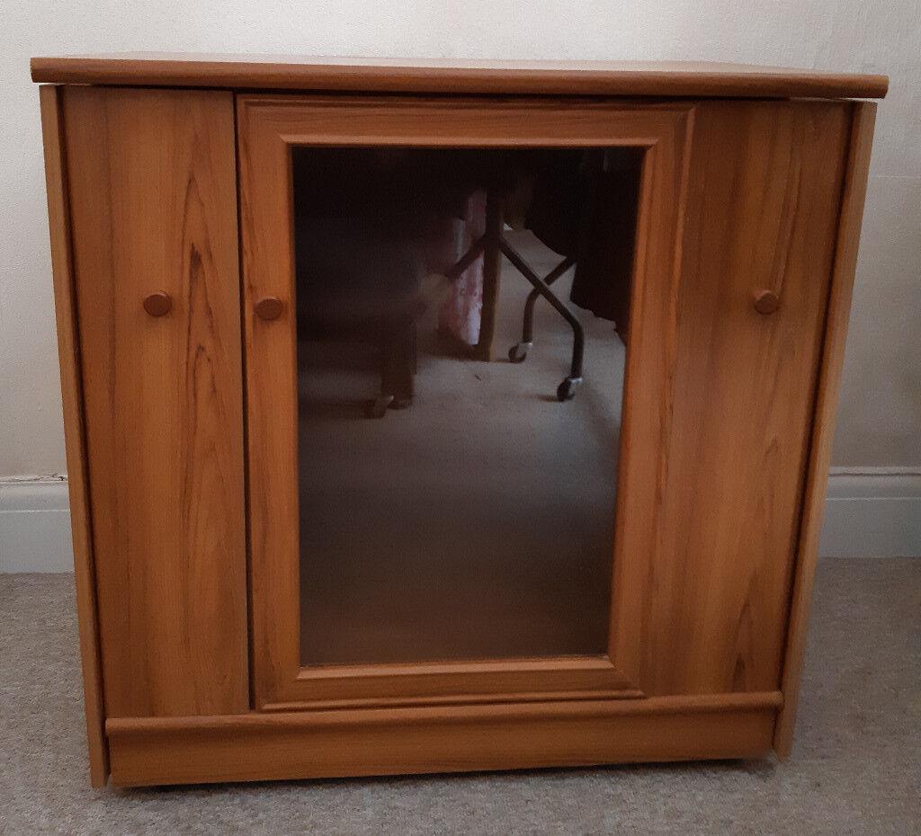 Hificd Storage Cabinet Pine Effect Wood With Glazed Door In