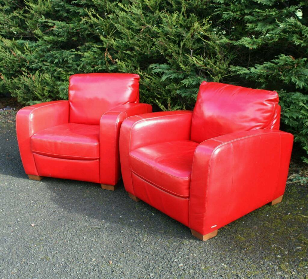 Italian Red Leather Chairs Deco Lazy Boy Natuzzi In Rosyth Fife - Red-italian-leather-armchairs-from-natuzzi