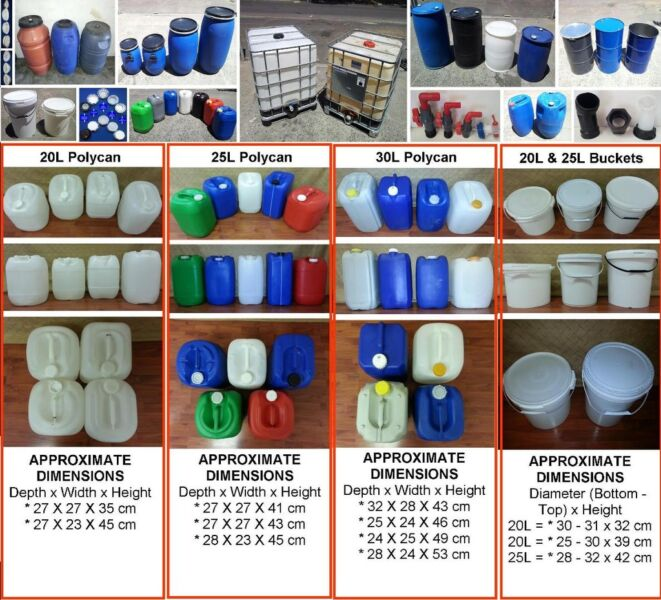 DRUMS - Plastic, Steel, Buckets, IBC's, Tanks, Kegs, 1000L & Grey Water Systems