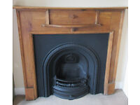 CAST IRON FIREPLACE WITH ORIGINAL OAK SURROUND ART DECO/1930's/EDWARDIAN. RADLEY BY THE GALLERY