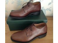 Men's Handmade Italian Leather Brown Lace Up Shoes Size 7 NEW