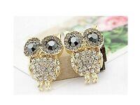 1 Pair or ladies Fashion Elegant Lovely Animal Owl Shape Crystal Ear Stud Earrings