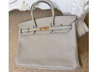 Hermes 35cm Pearl Gray Birkin Bag Gold Hardware