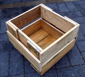 Rustic Hand-Made Square Wooden GARDEN PLANTER
