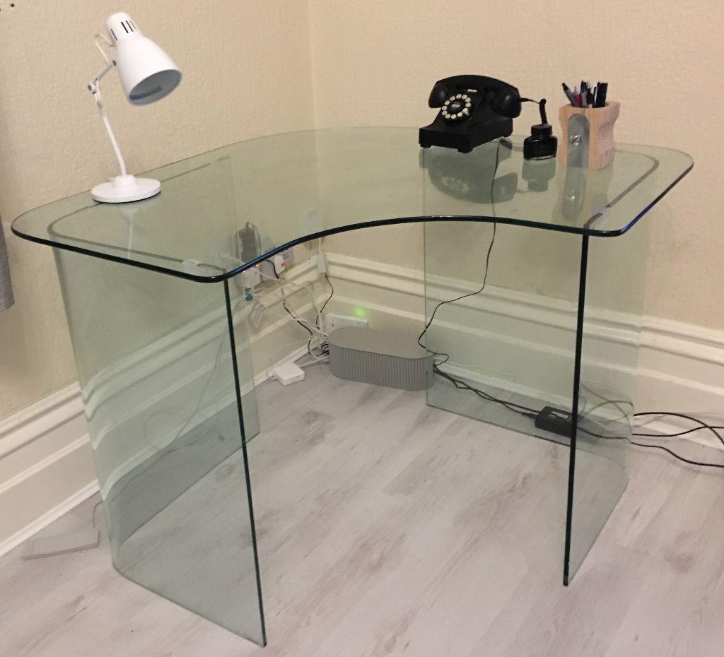 john lewis staten glass corner desk  excellent condition  - john lewis staten glass corner desk  excellent condition minimalist design