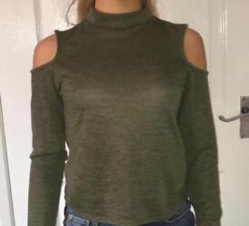 New Look Girls 12-13 Cold Shoulder Khaki Top