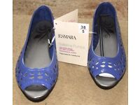 Esmara Ballerina Pumps Size 6 Blue