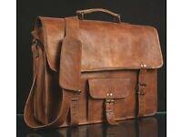 """preowned leather brown satchel 15"""" great quality"""