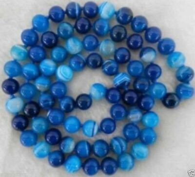 10mm Natural Blue Stripe Agate Onyx Gem Round Beads Necklace 35