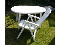 Plastic garden table and chair in white