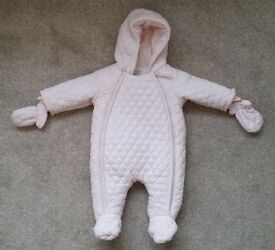 Mamas & Papas baby girl snowsuit newborn size in pale pink, excellent condition