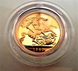 1980 22 CARATS GOLD PROOF FULL SOVEREIGN ELIZABETH II - CERTIFICATE OF AUTHENTICITY