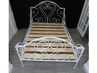 DOUBLE SIZE IRON METAL WHITE BED FRAME