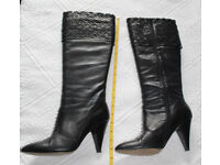LOTUS BLACK LEATHER KNEE HIGH BOOTS 6