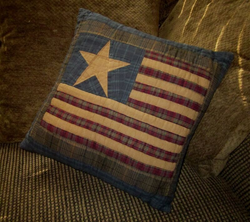 """OLD GLORY AMERICANA FLAG QUILT BLOCK 16"""" X 16"""" ACCENT THROW PILLOW TEA DYED"""