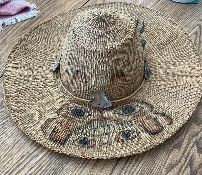 Makah/Northwest Coast Basketry Hat with Abilone embellishments UNIQUE