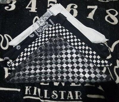 4 Bandana Set Checkerboard Gray Glitter Pasiley White & Black - Checkerboard Bandana