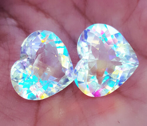 Loose Gemstone Mystic Quartz Heart Shape Pair 12.00 To 14.00 Ct Certified