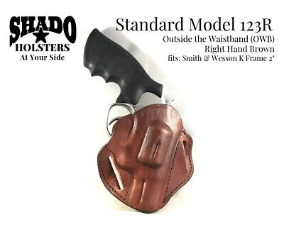 - SHADO Leather Holster Model 123R Right Hand Brown OWB fits Smith &Wesson K Frame