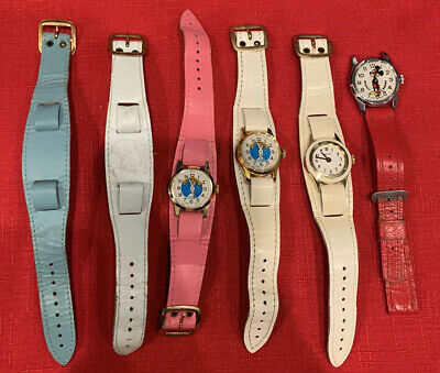 4 Vintage Swiss Made Watch Lot Includes Mickey Mouse , 2 Cinderella
