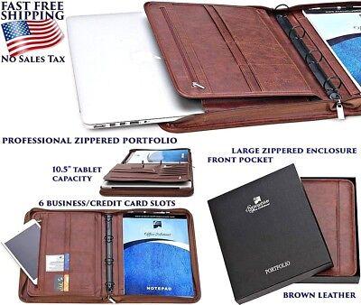 Padfolio Business Leather Portfolio Zippered Notebook Binder Office Organizer