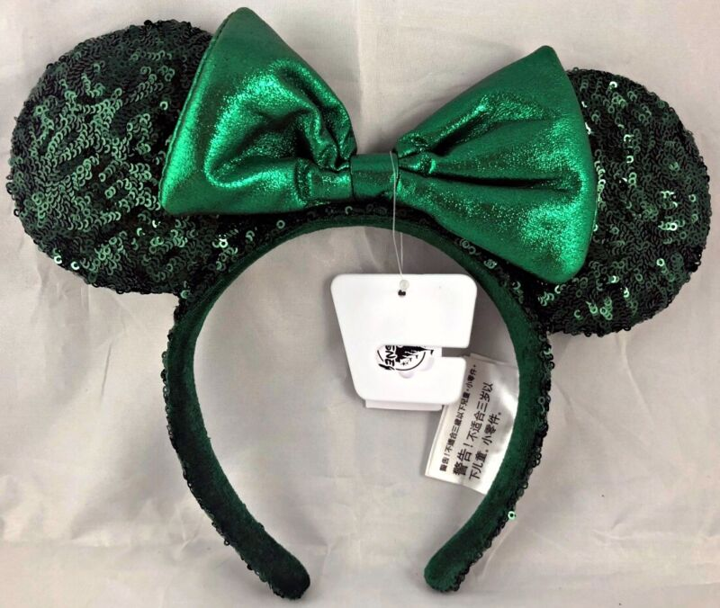 Disney Parks Emerald Green 2020 Minnie Mouse Ears Bow Headband Sequin - NEW