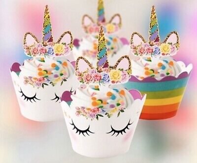 Baby Shower Cupcake Papers (24PCS Unicorn Cupcake Toppers Wrapper Rainbow Baby Shower Kids Birthday Decor)