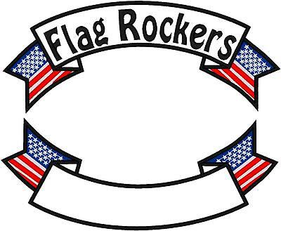 CUSTOM EMBROIDERED MOTORCYCLE   FLAG ROCKER PATCH