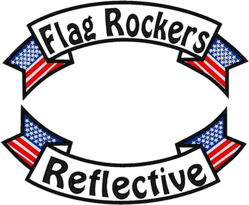 CUSTOM EMBROIDERED MOTORCYCLE  LARGE  14 INCH REFLECTIVE  FLAG ROCKER PATCH