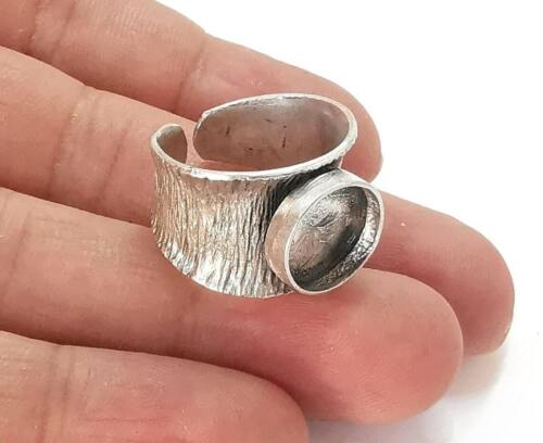 Silver ring setting resin blank cabochon base inlay mounting Adjustable G25969