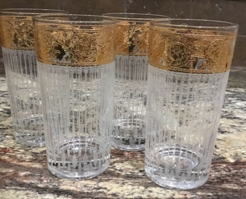 FOUR (4) CULVER 22 KT GOLD HIGH BALL TYROL GLASSES VERT FROSTED RIB LINES AS IS