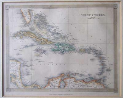 1842 Map of the West Indies, Drawn & Engraved by Alexander Findlay,Hand coloured